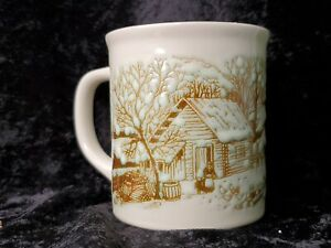 Vintage Etched Snow Cabin Mug with Japan on bottom