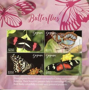 Guyana Butterflies Stamps 2018 MNH Malachite Lemon Butterfly Insects 4v M/S I