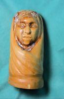 "Hand Carved Wood Madonna Virgin Mary 10"" Bust Figurine rustic prim ooak"