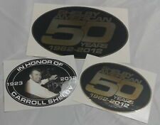 Carroll Shelby (1923-2012) + Shelby American 50 Years Decal Set. 3 Decals Total