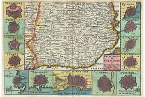Catalonia, Spain (Barcelona) Antique Historic Map by La Feuille; 1747