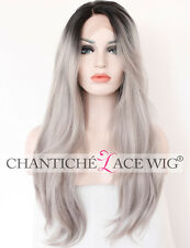 Dark Roots Ombre Gray Long Natural Straight Synthetic Lace Front Wigs For Women