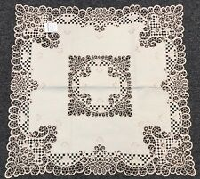 """Elegantlinen Embroidered Cutwork Embroidery Fabric 36x36"""" Tablecloth - Beige"""