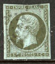 France Scotts #12, 1c olive green imperf, Emperor Napoleon, Used F/VF