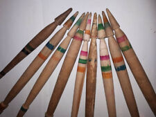 Antique Primitive Old Wool Spindle For Hand Spinning Yarn Hand Carved - 9 Pcs#2