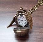 Bronce Antiguo Harry Potter Dorado Snitch Reloj Reloj Collar colgante - NUEVO