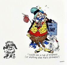 Vintage 1973 Happy Hoboes Framed Ceramic Tile Art Town Dump Clown Japan