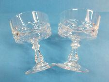 GORGEOUS CRYSTAL GLASS DESERT BOWLS x 2 - HIGH QUALITY LOVELY STEMS VGC # 233