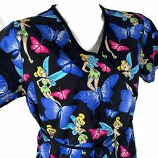 Disney Tinkerbell Blue Butterflies Medium Black Scrub Top
