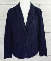 Talbots Jacket Womens 12 Blue Solid Button Long Sleeve Fitted Collared Cotton