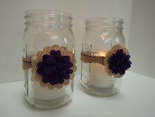 10 Rustic Burlap Plum Mason Jar Candle Centerpiece Wedding Decorations M13