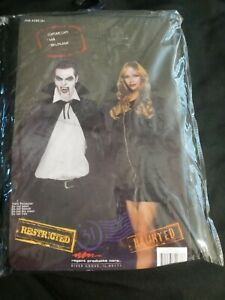 BLACK CAPE 56IN  Costume  High Collar Halloween Dracula Vampire New Shiny large