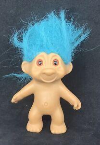 Retro Plastic Troll Doll With Blue Hair - 11cm