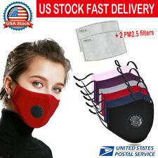 Face Mask Washable Reusable Cotton With 2 Filters Activated Carbon Respirator US