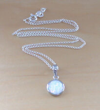 "925 White Opal Pendant & 18"" Sterling Silver Chain/Opal Jewellery/Opal Necklace"