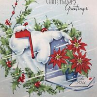 Vintage Early Mid Century Christmas Greeting Card Snowy Mailbox With Letter
