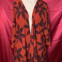 Women's LuLaRoe Size Small Open Cape Asymetrical Orange & Blue  Long Sleeve