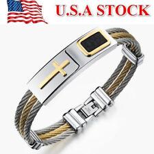 US STOCK Men's Stainless Steel Cross Locket Chain Bracelet Bangle Jewelry Gift