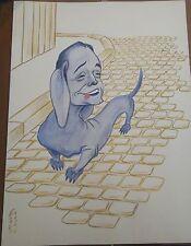 """Georges Bastia caricature Fresnay gouache  l'album """"Le Zoo des Vedettes"""" P1034"""