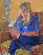 John Harvey (St Ives Society Of Artists) Oil Painting Portrait Of A Seated Lady