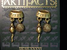 """""""JJ"""" Jonette Jewelry Bronze Pewter 'CAT * Mouse * Yarn Charms' Earrings"""