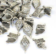5pcs Tibetan Style Rhombus Pinch Bails Pendant Bails Nickel Free Silver 27x15mm