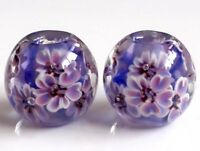 10pcs exquisite handmade Lampwork glass beads blue purple  flower 14mm