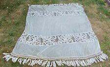 FABULOUS FRENCH ANTIQUE HAND CROCHET AND NET BEDSPREAD / BED COVER CIRCA 1900