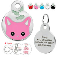 25mm Cat Face Personalized Engraved Tags Identity Dog Cat Pet ID Name Disc Disk