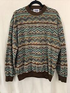 MISSONI SPORT Men's Large Pattered  Textured Cotton Blend Pullover Sweater VTG