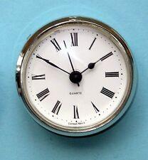 MEGA-QUARTZ 66mm silver BEZEL Quartz Clock  insert movement  White Roman dial