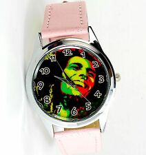 Bob Marley Jamaïque Reggae Rasta Soul cuir Music Legend Round CD rose watch