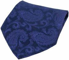 David Van Hagen Mens Paisley Silk Pocket Square - Royal Blue