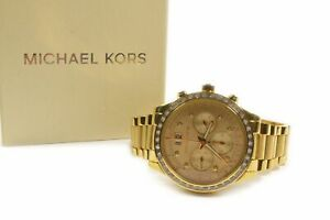 Michael Kors MK6187 Brinkley Gold Tone Glitz Chronograph Watch