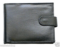 RFID Safe Mens High Quality Soft Black Leather Wallet With & Zip Coin Pocket 94