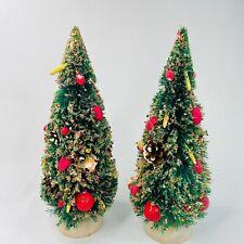 """Set of 2 Vtg Japan Green Bottle Brush Christmas Trees Decorated Mini Fruit  9.5"""""""