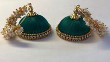 Ethnic Handmade Silk Threaded Bollywood style Jhumka HOOP GREEN Earrings