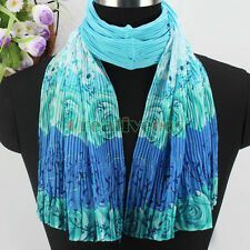 Fashion Womens Chiffon Scarf Rose Flower Print Crinkle Gradient Long Shawl Wrap