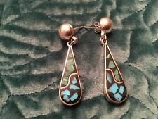 STERLING SILVER 925 TAXCO CHIPPED TURQUOISE DANGLE EARRINGS TS-94