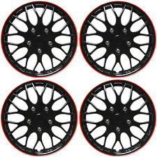 "4 Pc Set 15"" Ice Black & Red TRIM Hub Caps Skin Rim Cover Steel Wheel Cap Covers"