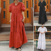 Womens Short Sleeve Tiered Layered Patchwork Casual Loose Flare Long Maxi Dress