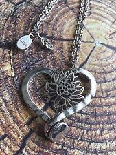 Silver Lotus Flower Hammered Large Heart Pendant Necklace Yoga Meditation Love