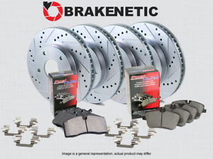 [F&R] BRAKENETIC SPORT Drill Slot Brake Rotors +POSI QUIET CERAMIC Pads BSK76905