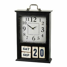 Pretty Black Perpetual Flip Calendar & Clock by Parlane