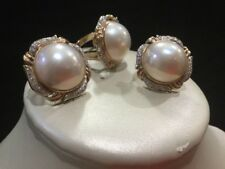 Estate 14k Yellow Gold Diamond Mabe Pearl Earring & Ring Jewelry Set
