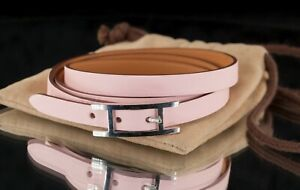 Hermes Calfskin Pink Hapi Triple Tour Leather Bracelet w/ Steel Clasp and Pouch