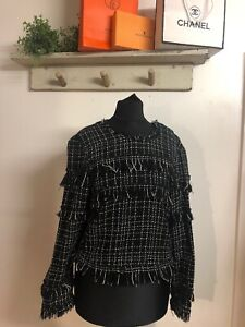 Zara Ladies Boucle Tweed Top Size XS Office Casual Smart Bloggers Celeb Blouse