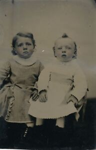 1860-1869 Tintype Babies Allan B. & James D. Bennett, Providence, RI., Excellent