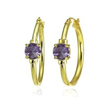 Solitaire Simulated Alexandrite 25mm Hoop Earrings in Gold Plated 925 Silver