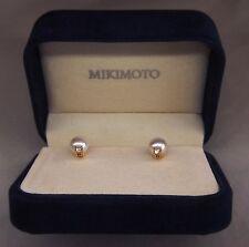 Mikimoto 18K YGld Akoya A+Grade 7.5 Pearl VS1-G Diamond 💎Stud Earrings+Org Box!